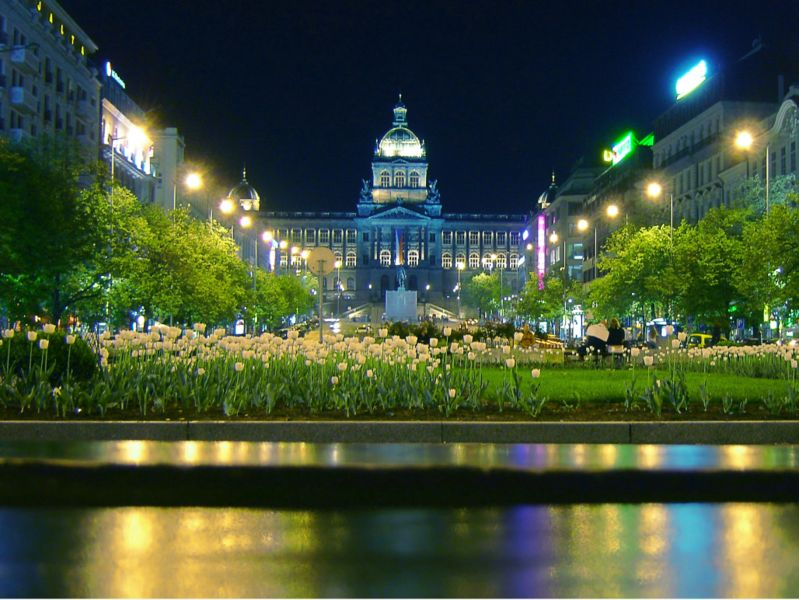 Night View of Wenceslas Square and National Museum, Prague